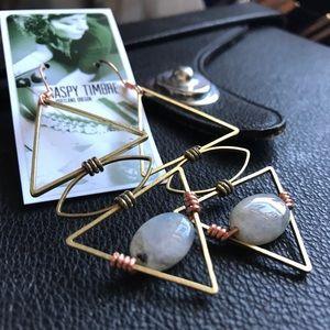 SOLD! Handmade Labradorite Copper Earrings